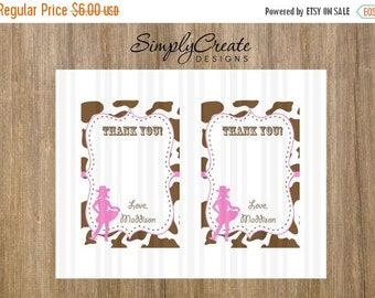 SALE Cowgirl Thank You Card Digital Two 4x6 cards on 8.5x11 JPEG