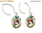 ON SALE St. Patrick's Day Earrings, Vintage Style Ireland Image