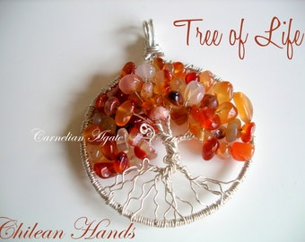 Tree of life made of sterling silver 925 and Carnelian Agate chips