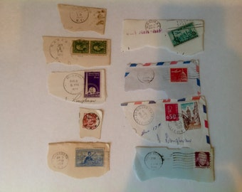 Vintage stamps and postmarks for collage