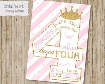 Fourth Princess Birthday Invitation  / Gold Glitter Birthday Invitation / 4th Girl's Birthday Invitation / Pink, White, Gold, watercolor