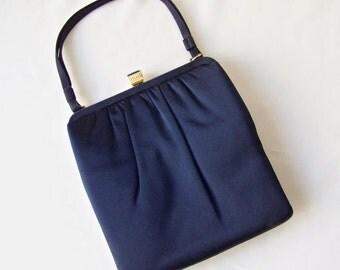 Vintage Navy Blue Lewis Handbag Satin Fabric Iced Blue Clasp Crown Lewis Designer Evening Bag 1960s