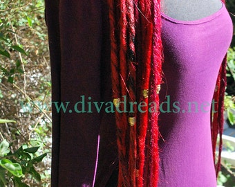 Mixed Crimson Red Dread Lock Falls
