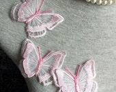 Vintage Applique - 4 pcs Light Pink Butterfly Applique Trim (A326)