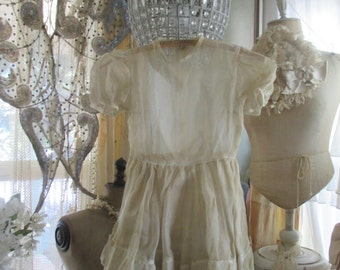 Vintage Sheer Organdy Ivory Childs Dress Ruffled Flounce P73