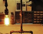 Handmade Industrial Lamp / Steampunk Lamp / Table Pipe Lamp Industrial Lighting Rustic Decor / Industrial Design One of a Kind Ready to Ship