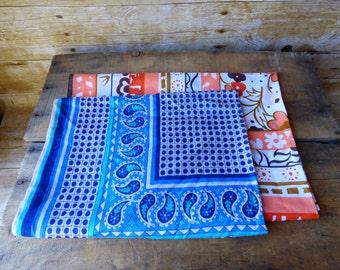 Set of Vintage Bandanas - Two Vera Neumann Cotton Scarfs