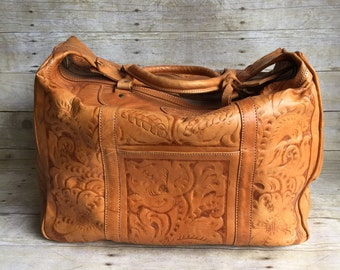 Large Vintage Tooled Leather Suitcase - Overnight Bag - Suit Case