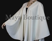 Ivory Cashmere Cape Ruana Wrap Coat by Maya Matazaro Made in USA Luxurious