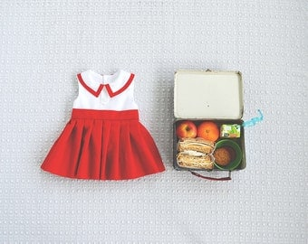 Pleated Back To School Madeline Dress in Red