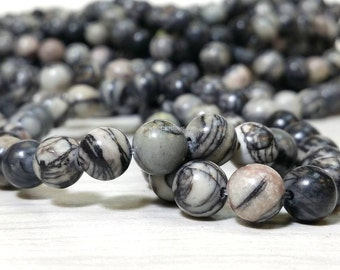 6, 8, 10 or 12 MM Natural Black Silk Stone - Smooth Round Beads - 15.5 inch strand (G3246S)