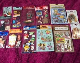 FOOD themed Sticker lot - 10 packs plus die uts and button embellishments - chef cook baker