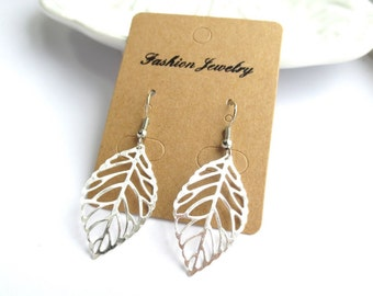 Mini Leaf Platinum Silver Earrings