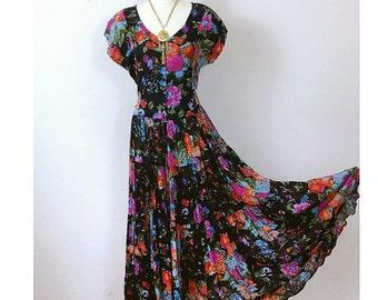 80's Floral Cotton Gauze Dress, Classic cap sleeve button down sundress Maxi, Gypsy Boho Hippie, Jasmine 1980's 80's Dress, Size Medium