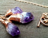 Triple Amethyst Copper Necklace-Amethyst Necklace-Copper Necklace-Etsy Jewelry-Starsight Jewels-Reiki-Chakra-Metaphysical