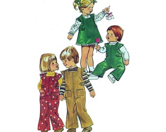 """Baby Sewing Pattern Vintage 70s Overalls with Snap Crotch, Dress and Blouse Toddler Size 6MO Chest 19"""" (48 cm) Simplicity 5992"""