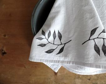 Hostess gift ideas, flour sack towel, dish towels, tea towel, cotton kitchen towels, block print, housewarming gift, chef gift, housewarming