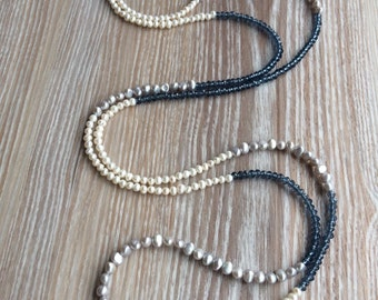 Long Necklace Fresh Water Pearls and Crystal with toggle clasp. UK made 54 Inch