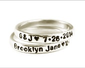 Silver Personalized Skinny Ring | Stacked Sterling Silver Ring, Customize Name or Date on Ring, Stackable Rings, Gift for Her