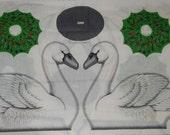 12 Days of Christmas swan cut & sew panel VIP wreath bird holiday lodge outdoor white green stuffed animal centerpiece water