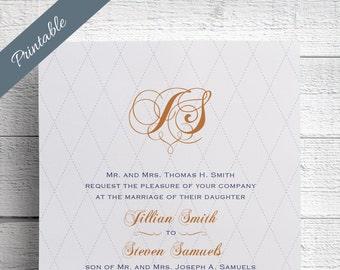 Monogram Wedding Invitations Formal Wedding Invitations Printable