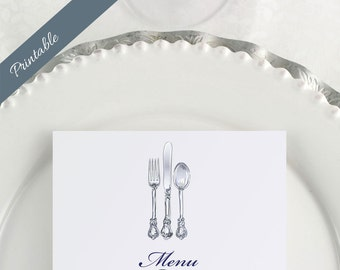 Printable Menu Wedding Menu Silverware