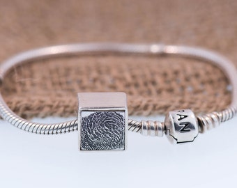 Square Fingerprint Charm Handcrafted In Pure Silver