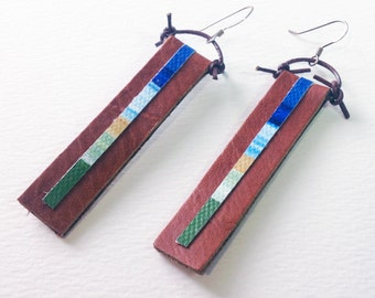 canvas and brown leather earrings