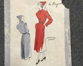 40s Vogue Paris Original Dress Pattern 1067 - Paquin - Bust 34 - Hip 37
