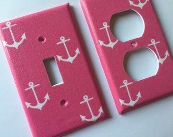 Pink and White Anchors Light Switch Plate Cover / Nautical Bedroom Decor / Nautical Nursery Decor / Anchor Decor / Pink Nautical Decor