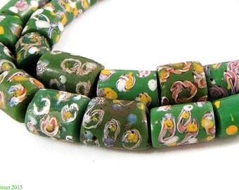 Venetian Trade Beads Green Dots Striped Africa 98990