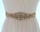 Gold Crystal Bridal Sash. Rose gold Rhinestone Beaded Applique Wedding Belt. Silver Bridal Belt. JEWEL CRYSTAL GOLD