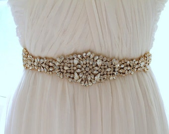 Gold Crystal Bridal Sash. Rose gold Rhinestone Beaded Applique Wedding Belt. Silver Bridal Belt. JEWEL CRYSTAL GOLD