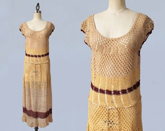 1930s Dress/ 30s Knit Crochet Dress / Stripes / Peach / Braided Tassel Belt