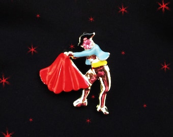 Small Vintage Figural Bull fighter Brooch - 50s Scatter Pin