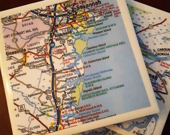 Savannah Map Coasters...Georgia...Set of 4...For Drinks and Candles... Full Cork Bottoms