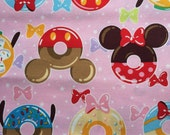 Half yard Disney fabric Mickey mouse with sweets printed pink colour fabric