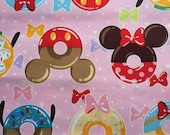 One yard Disney fabric Mickey mouse with sweets printed pink colour fabric
