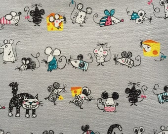 Japanese cotton fabric Cat and Mouse printed Half yard gray colour