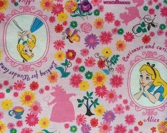 Alice in wonderland flower garden pink colour fabric One yard