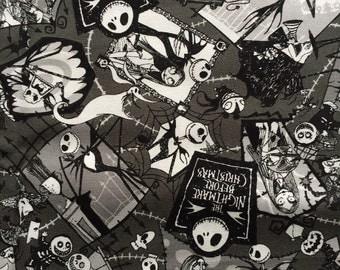JULY SALE Nightmare Before Christmas  fabric gray color one  yard  Disney anime printed