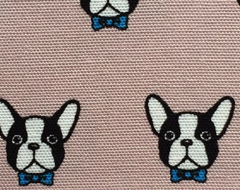French bulldog printed cute light pink colour fabric one yard