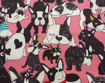 Japanese cotton fabric dog french bulldog  printed Half yard pink colour