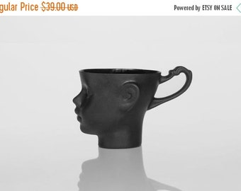 SALE Porcelain doll head mug in black - whimsical black ceramic artisan cup, for coffee or tea