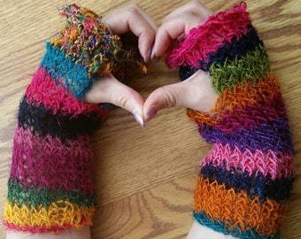 Fingerless Gloves Small/Medium Short OOAK - Recycled Silk Sari Yarn with Thumb Hole - Handspun and Handknit