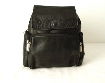 90s black LEATHER RUCKSACK backpack