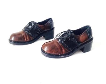 womens size 8 vintage distressed 90s GRUNGE doc marten style spectator PLATFORM grunge shoes