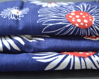 Vintage Fabric Red White and Blue Flower Print Daisy  by the yard