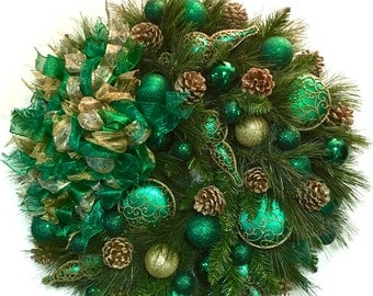 """Elegant Formal Green and Gold Double Pine Wreath Large  27"""" SHATTERPROOF Ornaments Very Full INDOOR OUTDOOR"""