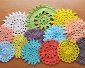 Hand Dyed Vintage Crochet Doilies, Set of 15 Small Doilies for Dream Catchers and Crafts